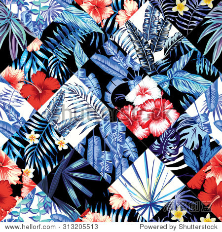 Print fashion tropic jungle seamless vector pattern patchwork in trendy blue style. Red and white flowers hibiscus and plumeria and plant leaf banana palm. Illustration floral poster black background