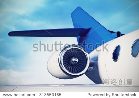 3d illustration of private aircraft jet engine with a part of a wing on sky background