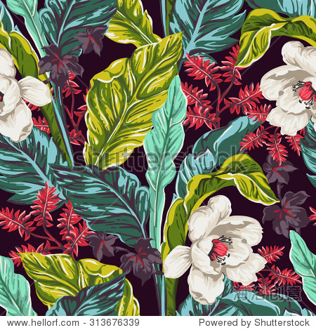 seamless pattern of exotic flower and leaves