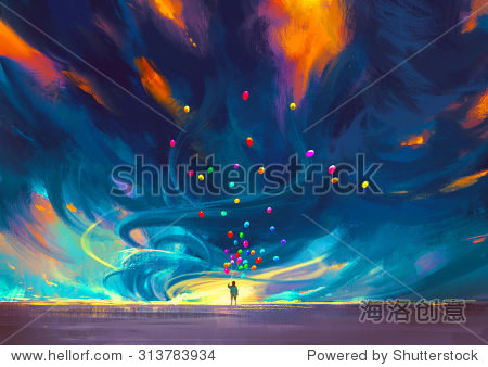 child holding balloons standing in front of fantasy storm illustration painting