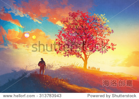 autumn landscape with alone tree on mountain coming home concept illustration painting