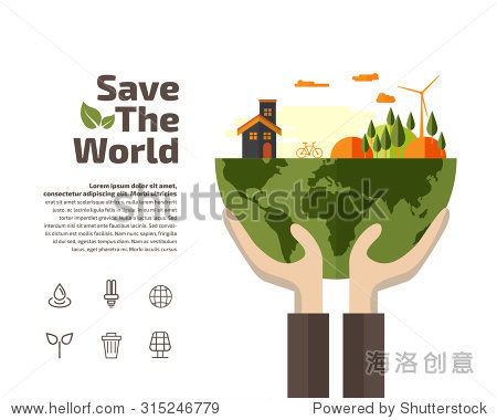 Hands holding Earth with ecology symbols  Ecology concept.