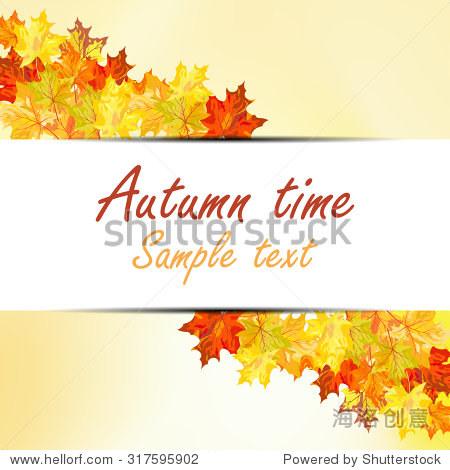 Fall Design. Autumn Maple leaves. Raster Illustration.