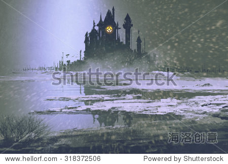 castle silhouette in winter at night illustration painting
