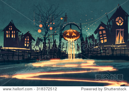Halloween night with pumpkin and haunted houses illustration painting
