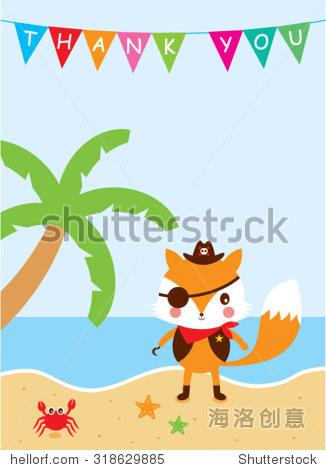 cute fox pirate thank you card
