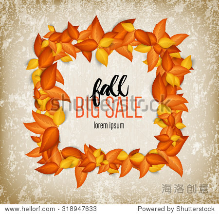 Vector golden autumn leaves over old weathered paper background - square wreath frame