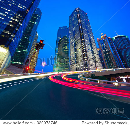 Empty road surface with shanghai lujiazui modern city buildings backgrounds of night scene