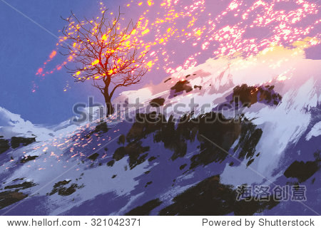 fantasy landscape showing bare tree in winter with glowing snow digital painting