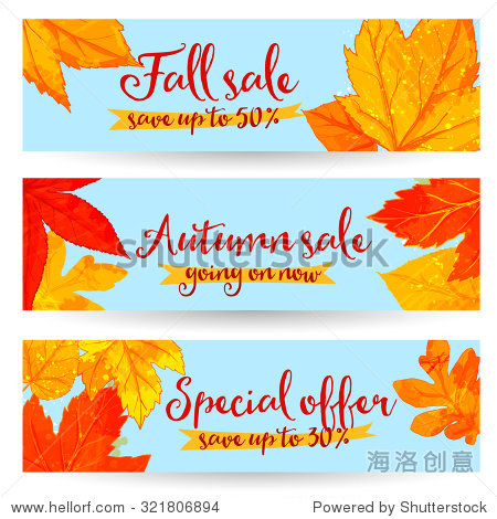 Autumn sale banners with golden and red leaves. Set of fall promo vector designs with hand drawn art.