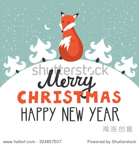 Vector holiday background with cute fox  Christmas trees  night sky  moon. Christmas card with hand written text Merry Christmas and happy New Year. Childish winter background.