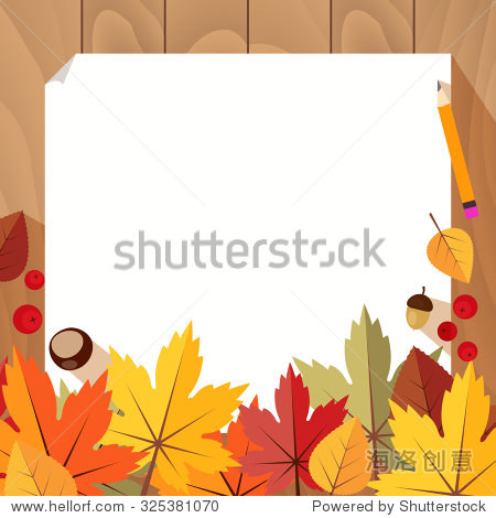 White sheet of paper on the table with pencil  board  chestnut  maple leaf  acorn  rowan  aspen leaf. Autumn abstract background. Vector illustration. Banner  poster elements to your design.