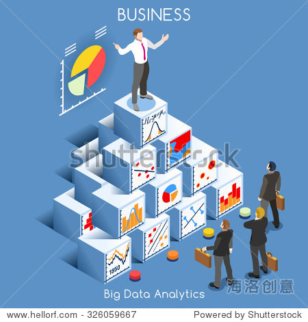 Big Data Analytics Data Mining. Interacting People Unique Isometric Realistic Poses. bright palette 3D Flat Icon Set. Statistics Concept. A Man Speaking on Top of a Graph Pile of Cubes JPG JPEG Image
