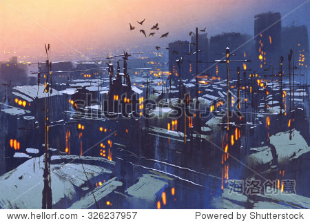 painting of city snowy winter scene rooftops covered with snow at sunset