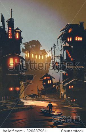 man stands on boat visiting fantasy village illustration painting