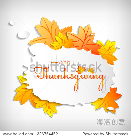 Postcard with stylized paper maple and bubble for greeting with happy Thanksgiving. Vector illustration