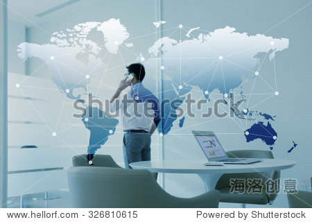 Man talking via mobile phone and laptop with globalization layer effect
