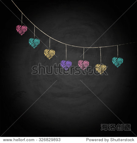 Blackboard background with drawing bunting hearts. Vector texture EPS10