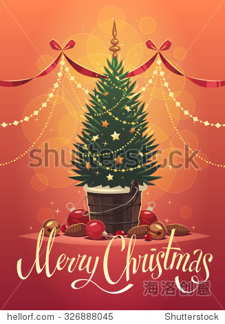 Christmas tree. Christmas greeting card  background  poster. Vector illustration.