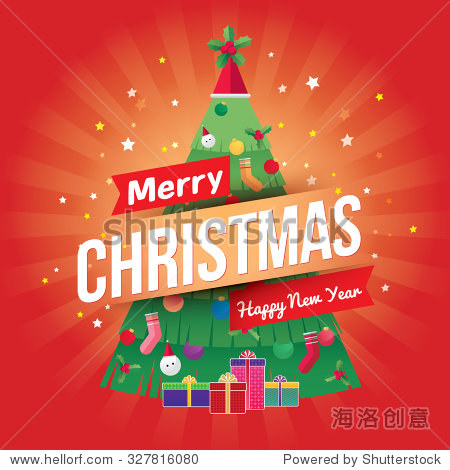 Merry Christmas and Happy New Year greeting card/poster. Vector  illustration