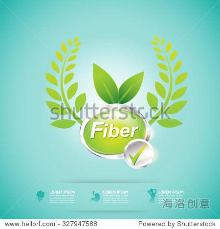 Fiber Natural Foods and Vitamin for Slim Shape Concept Label Vector