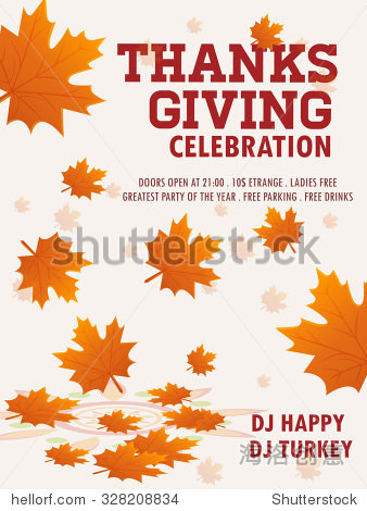 Happy Thanksgiving Flyer. Vector eps 10.