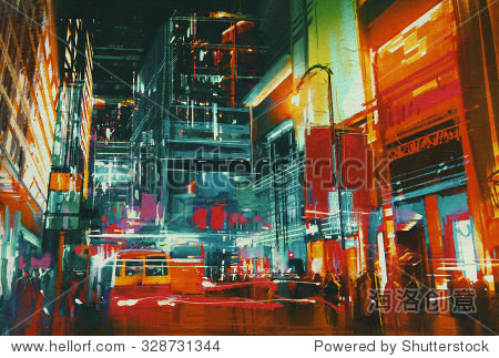 city street at night with colorful lights digital painting