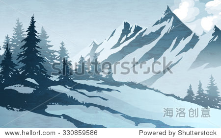 Watercolor imitation illustration. Winter mountains landscape  trees  sky.