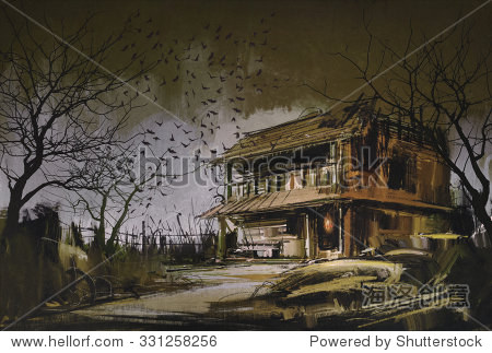 painting of old wooden abandoned house halloween background