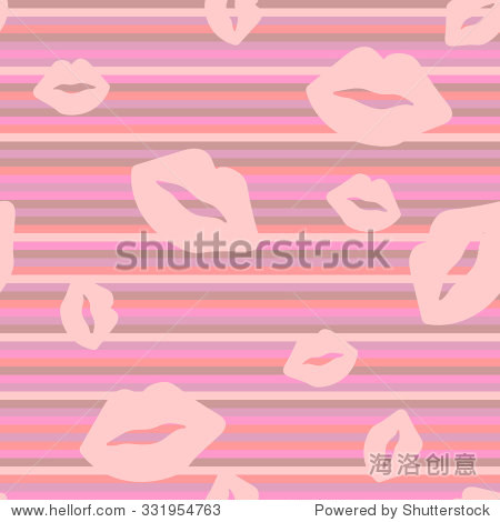 Seamless pattern with lips. Pink silhouette on a colorful background