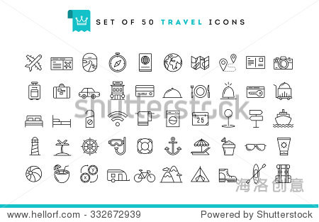 Set of 50 travel icons  thin line style  vector illustration