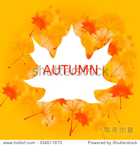 Vector Illustration of an Autumn Design with border and leaves background