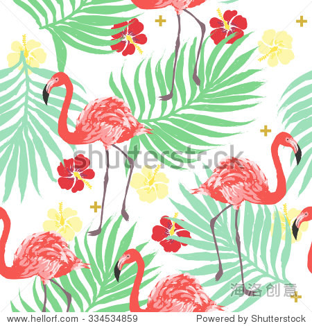 Vector tropical exotic seamless pattern with flamingo  palm and hibiscus flower
