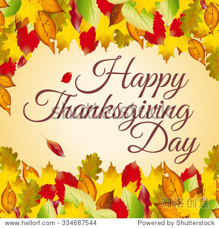 Happy Thanksgiving Day card with autumn leaves
