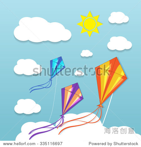 Three kites in the cloudy sky. Vector illustration