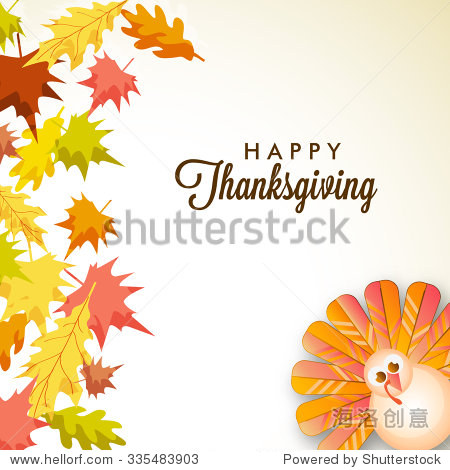 Vector illustration of happy Thanksgiving turkey bird with colourful background.