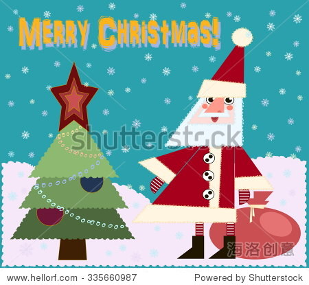 vector illustration Christmas card with a sweet Santa Claus and Christmas tree