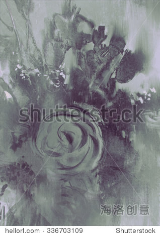 abstract flower background with gray tone digital painting