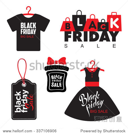 Black Friday Sale Badges Labels vector as dress t-shirt. Creative design templates for Poster Banner Grand clearance.