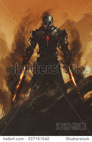 warrior posing with fire flame swords on fire background illustration painting