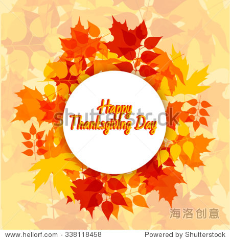 Happy Thanksgiving sticker  tag or label beautiful maple leaves.