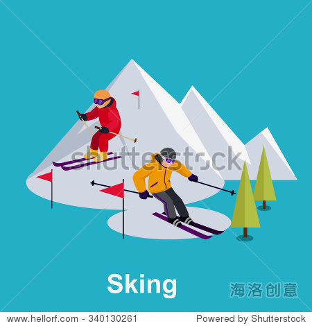 People skiing flat style design. Skis isolated  skier and snow  cross country skiing  winter sport  season and mountain  cold downhill  recreation lifestyle  activity speed extreme illustration