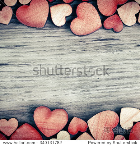 background with wooden  hearts  place for text