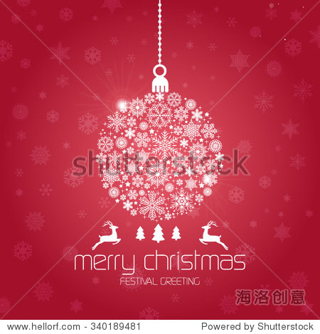 Vintage Christmas card with Christmas Balls / Christmas Balls made of snowflakes isolated