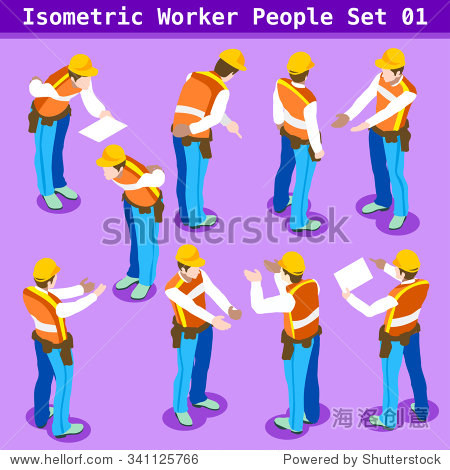 Tradesman character Isometric People building Construction site Foreman Worker Collection. Blue Collar symbol. Person realistic gesture sign. Builder 3D Flat Icon Set Men at Work Illustration