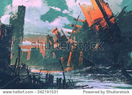 disaster city apocalyptic scenery illustration painting