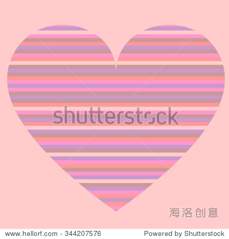 Multicolored heart on a pink background. Vector illustration