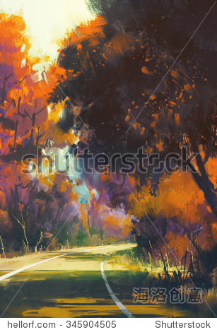 painting of road in autumn forest illustration