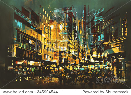 night scene cityscape abstract art painting illustration