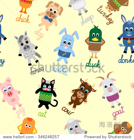 Seamless pattern with cute farm animals  including chicken  cat  pig  sheep  dog  cow  turkey  goat  donkey  rabbit  duck and horse on yellow background